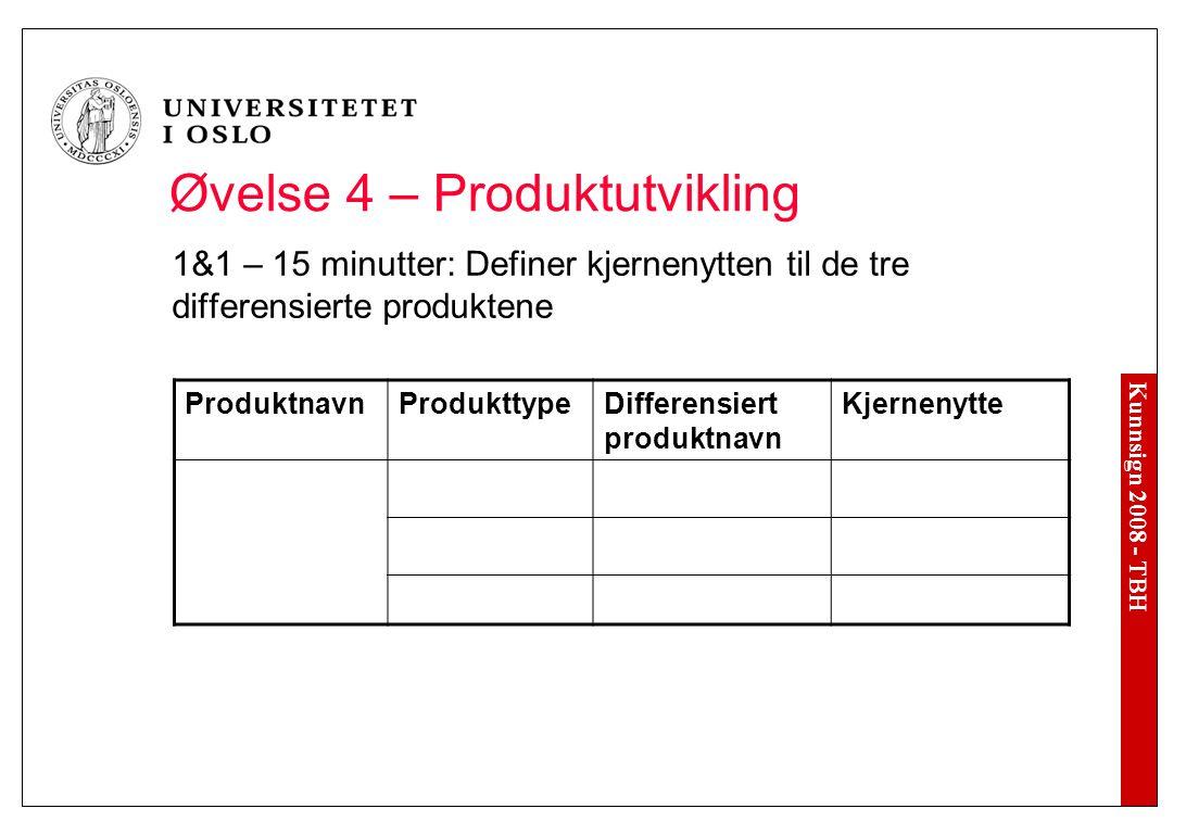 Kunnsign 2008 - TBH Øvelse 4 – Produktutvikling 1&1 – 15 minutter: Definer kjernenytten til de tre differensierte produktene ProduktnavnProdukttypeDif