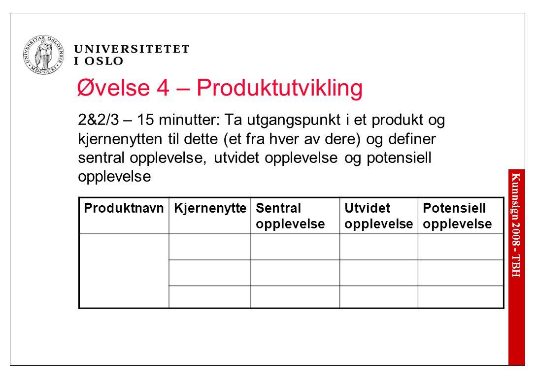 Kunnsign 2008 - TBH Øvelse 4 – Produktutvikling 2&2/3 – 15 minutter: Ta utgangspunkt i et produkt og kjernenytten til dette (et fra hver av dere) og d