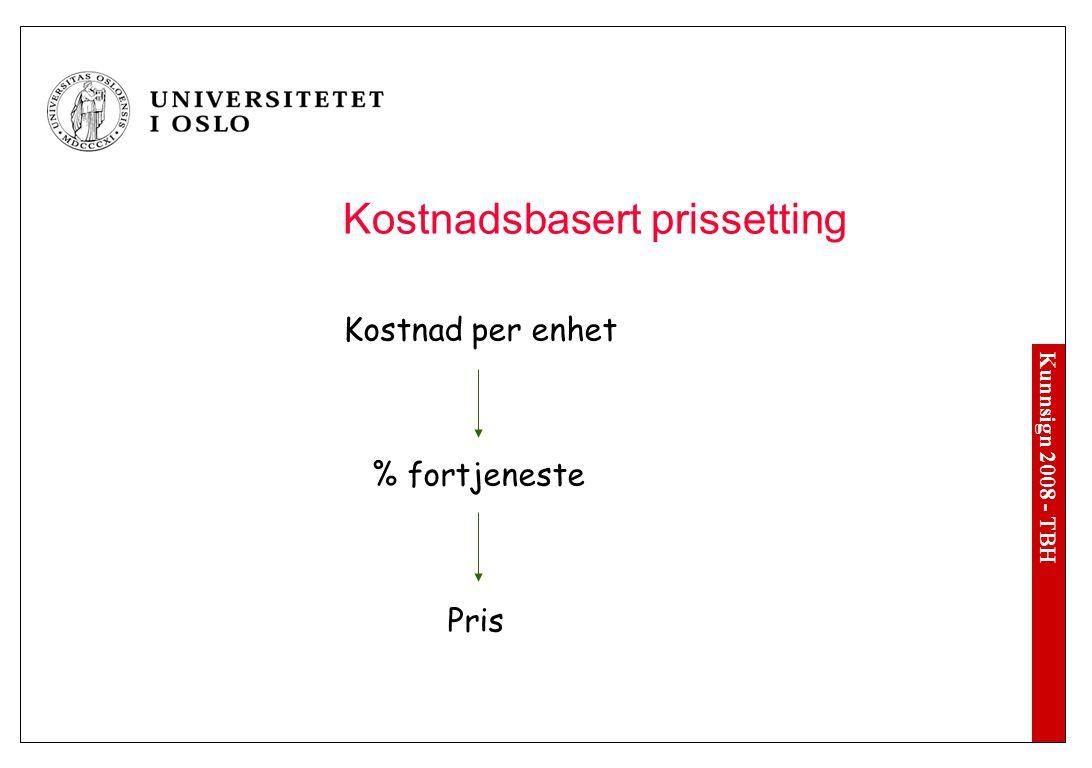 Kunnsign 2008 - TBH Kostnadsbasert prissetting Kostnad per enhet % fortjeneste Pris (Faste og variable kostnader)