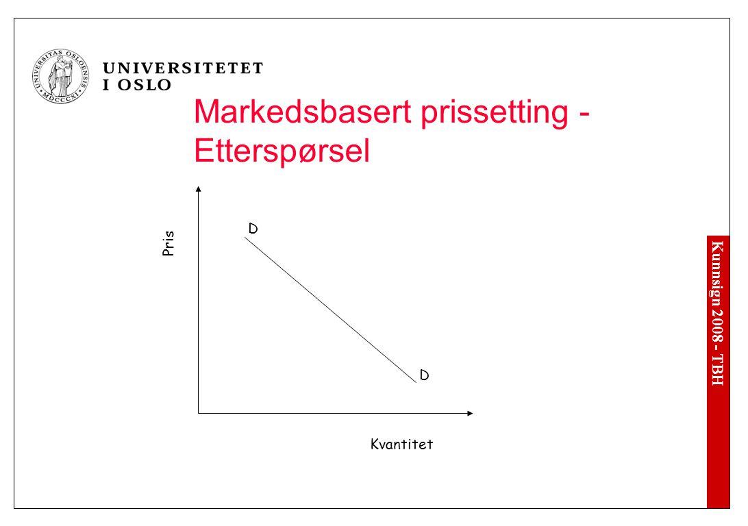Kunnsign 2008 - TBH Pris Kvantitet S S Markedsbasert prissetting - Tilbud