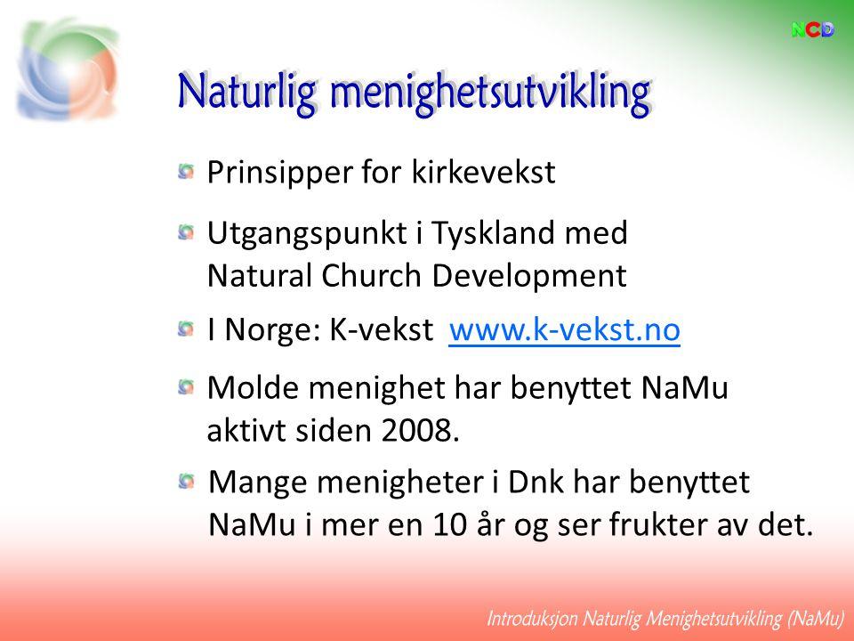 Prinsipper for kirkevekst Utgangspunkt i Tyskland med Natural Church Development I Norge: K-vekst www.k-vekst.no Molde menighet har benyttet NaMu akti