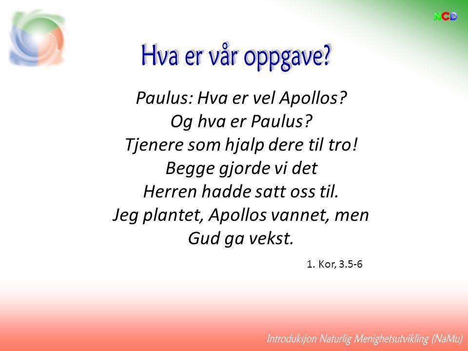 Paulus: Hva er vel Apollos? Og hva er Paulus? Tjenere som hjalp dere til tro! Begge gjorde vi det Herren hadde satt oss til. Jeg plantet, Apollos vann