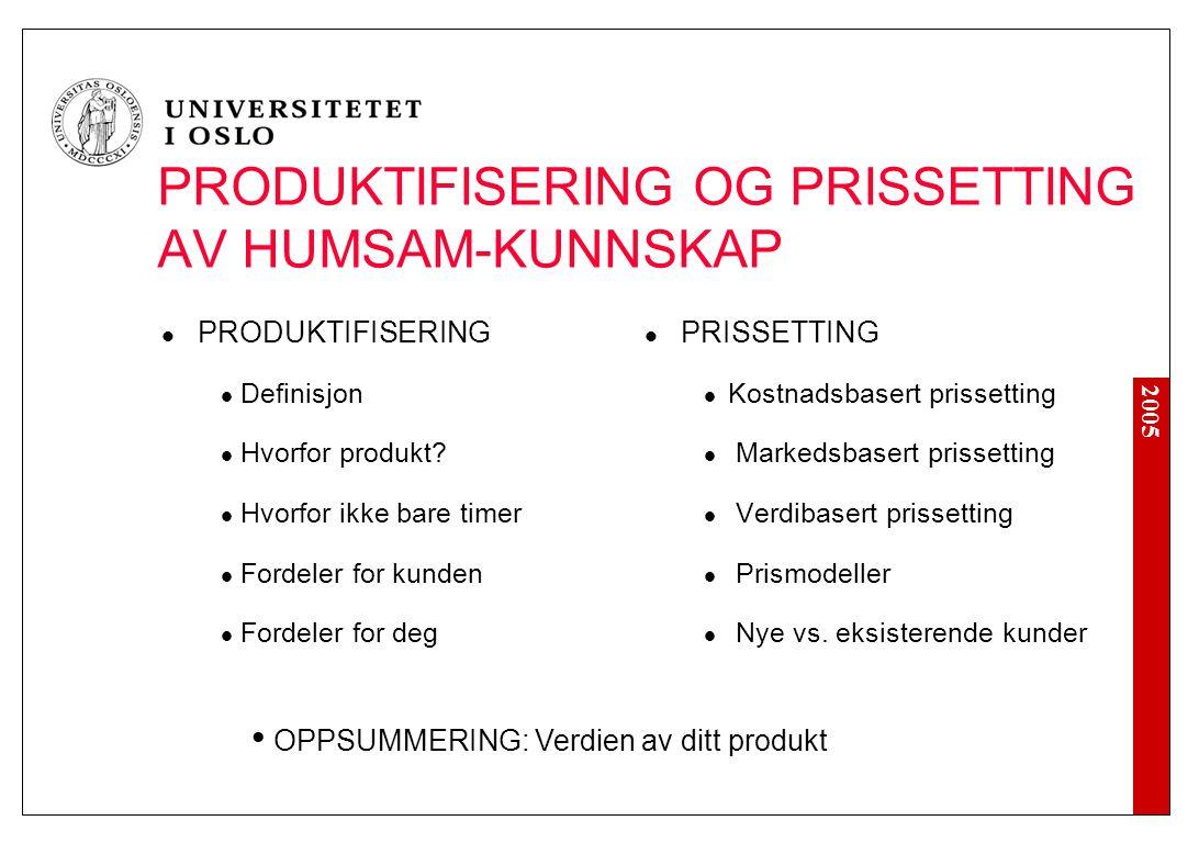 2005 PRODUKTIFISERING OG PRISSETTING AV HUMSAM-KUNNSKAP OPPSUMMERING: Verdien av ditt produkt PRODUKTIFISERING Definisjon Hvorfor produkt? Hvorfor ikk