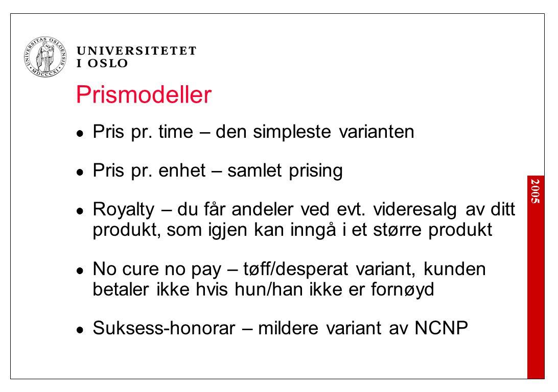 2005 Prismodeller Pris pr. time – den simpleste varianten Pris pr. enhet – samlet prising Royalty – du får andeler ved evt. videresalg av ditt produkt