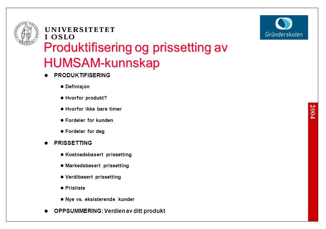 2004 Produktifisering og prissetting av HUMSAM-kunnskap PRODUKTIFISERING Definisjon Hvorfor produkt.