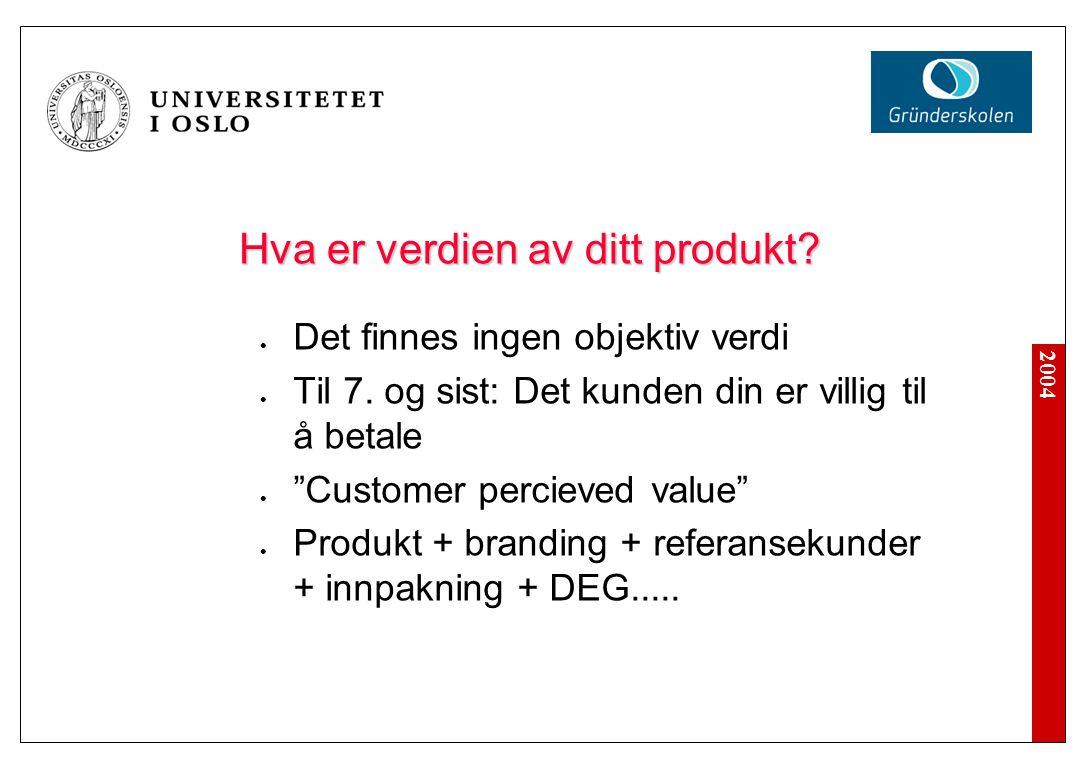 2004 Hva er verdien av ditt produkt. Det finnes ingen objektiv verdi Til 7.