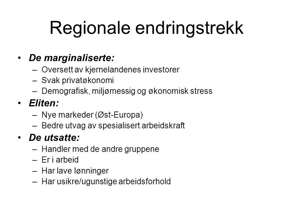 Regionale endringstrekk De marginaliserte: –Oversett av kjernelandenes investorer –Svak privatøkonomi –Demografisk, miljømessig og økonomisk stress El