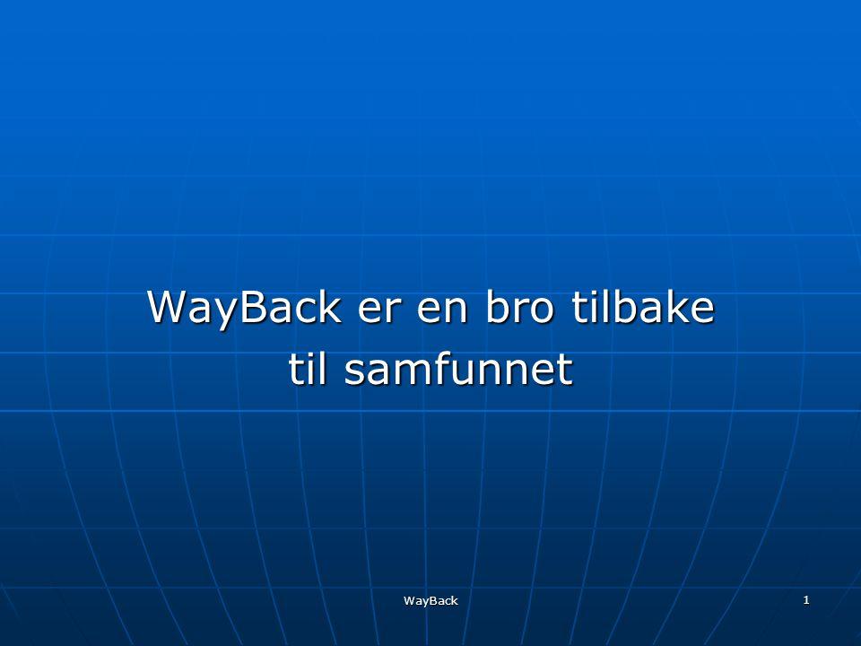 WayBack 1 WayBack er en bro tilbake til samfunnet