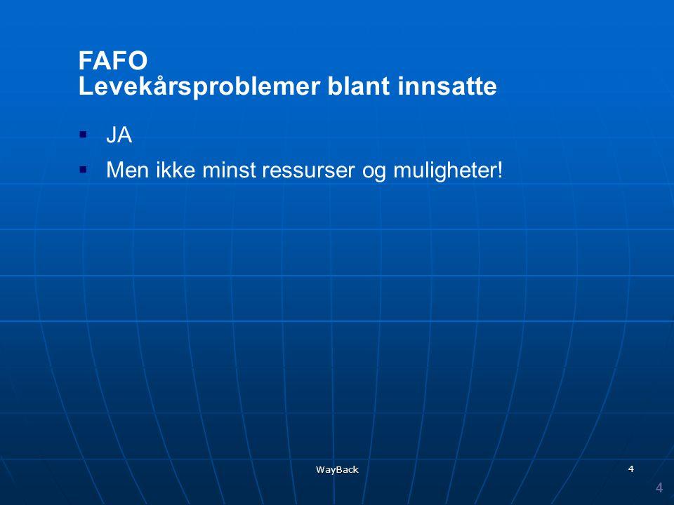 WayBack 4 FAFO Levekårsproblemer blant innsatte  JA  Men ikke minst ressurser og muligheter! 4