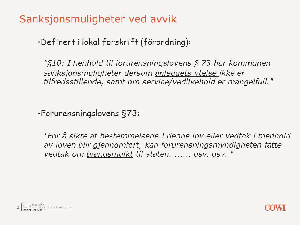 Sanksjonsmuligheter ved avvik 6. - 7.