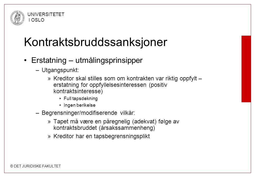 © DET JURIDISKE FAKULTET UNIVERSITETET I OSLO Kontraktsbruddssanksjoner Erstatning – utmålingsprinsipper –Utgangspunkt: »Kreditor skal stilles som om