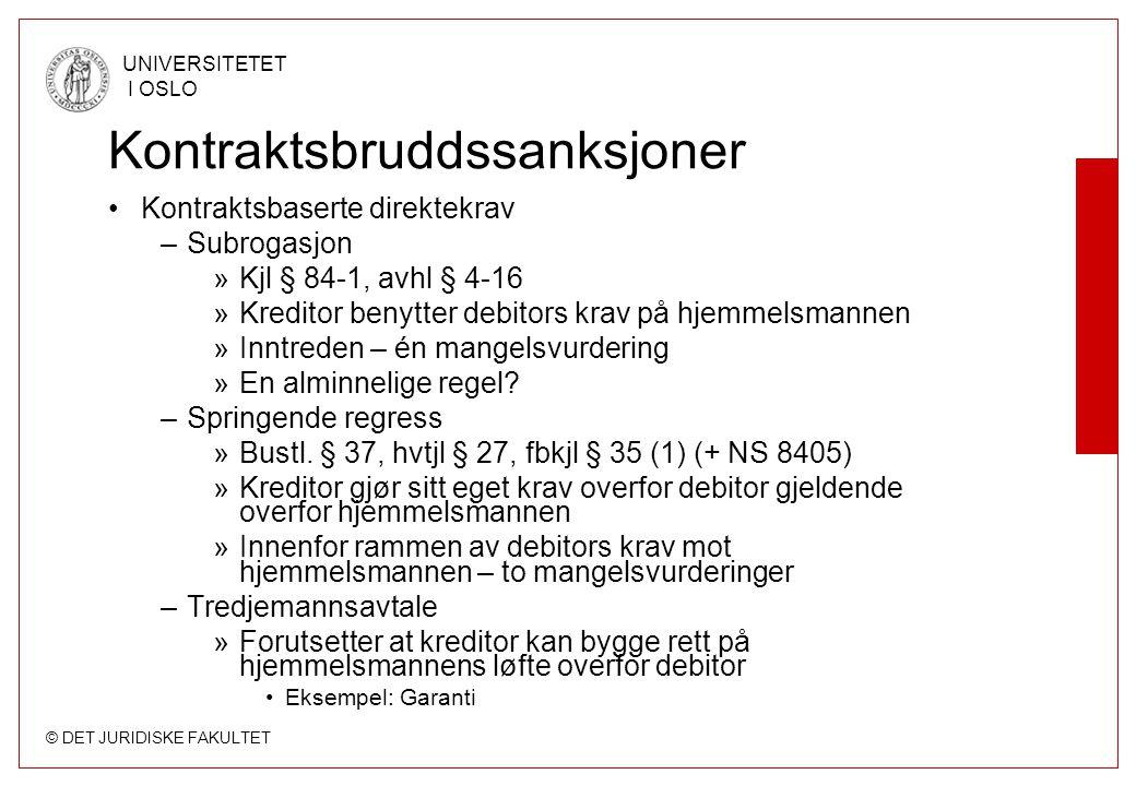 © DET JURIDISKE FAKULTET UNIVERSITETET I OSLO Kontraktsbruddssanksjoner Kontraktsbaserte direktekrav –Subrogasjon »Kjl § 84-1, avhl § 4-16 »Kreditor b