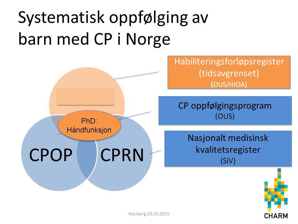 CPHAB CPRNCPOP Systematisk oppfølging av barn med CP i Norge Klevberg 29.01.2015 Nasjonalt medisinsk kvalitetsregister (SiV) Nasjonalt medisinsk kvali