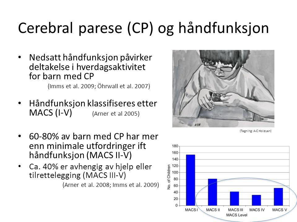 (Tegning: A-C Holøyen) Cerebral parese (CP) og håndfunksjon Nedsatt håndfunksjon påvirker deltakelse i hverdagsaktivitet for barn med CP (Imms et al.