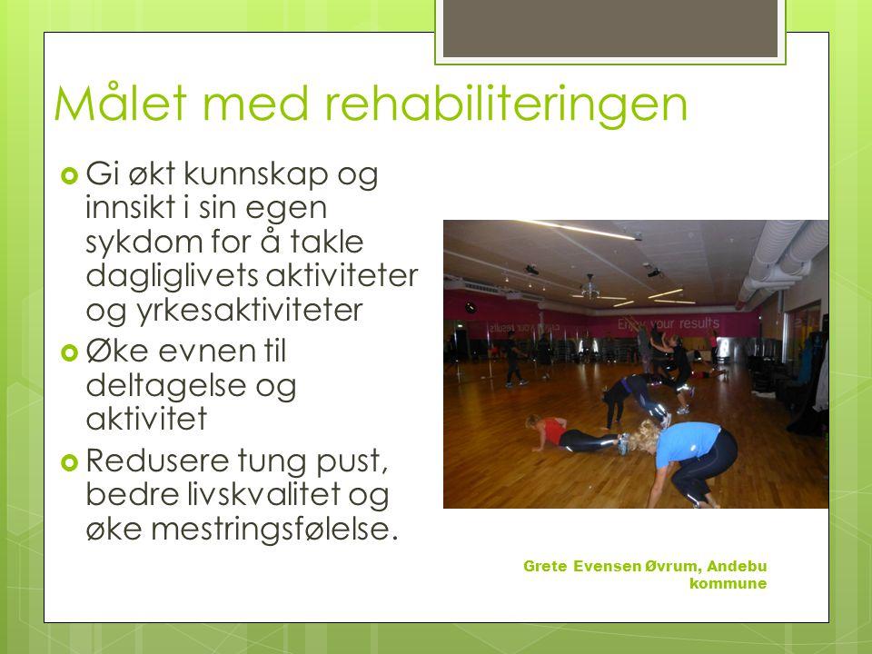 Målet med rehabiliteringen  Gi økt kunnskap og innsikt i sin egen sykdom for å takle dagliglivets aktiviteter og yrkesaktiviteter  Øke evnen til deltagelse og aktivitet  Redusere tung pust, bedre livskvalitet og øke mestringsfølelse.