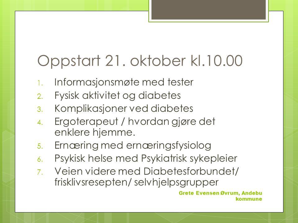 Oppstart 21.oktober kl.10.00 1. Informasjonsmøte med tester 2.