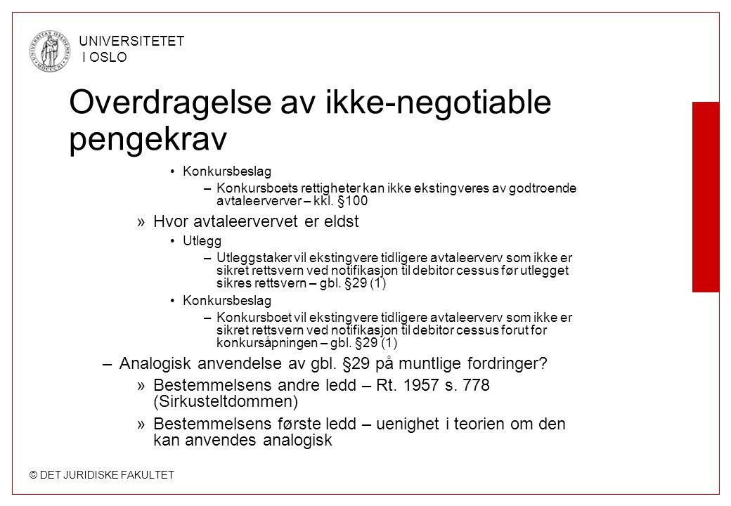 © DET JURIDISKE FAKULTET UNIVERSITETET I OSLO Overdragelse av ikke-negotiable pengekrav Konkursbeslag –Konkursboets rettigheter kan ikke ekstingveres