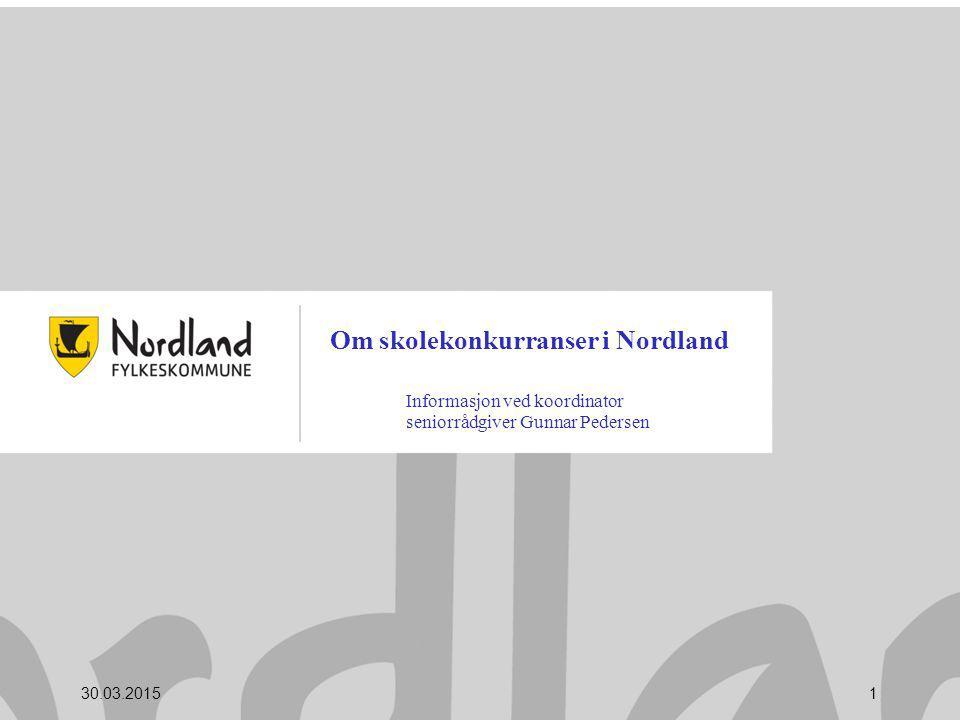 Om skolekonkurranser i Nordland Informasjon ved koordinator seniorrådgiver Gunnar Pedersen 30.03.20151