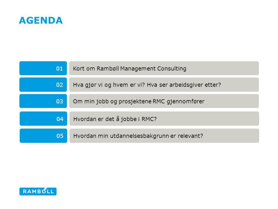 AGENDA Kort om Rambøll Management Consulting01 Om min jobb og prosjektene RMC gjennomfører03 Hva gjør vi og hvem er vi? Hva ser arbeidsgiver etter?02