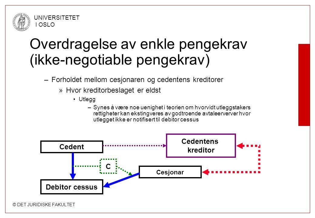 © DET JURIDISKE FAKULTET UNIVERSITETET I OSLO Overdragelse av enkle pengekrav (ikke-negotiable pengekrav) –Forholdet mellom cesjonaren og cedentens kr