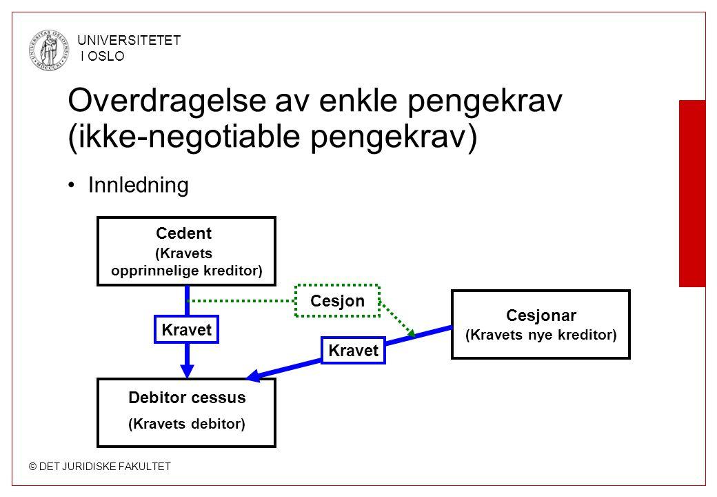 © DET JURIDISKE FAKULTET UNIVERSITETET I OSLO Overdragelse av enkle pengekrav (ikke-negotiable pengekrav) Innledning (Kravets opprinnelige kreditor) C