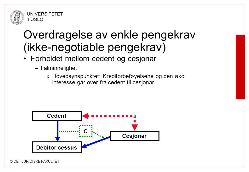 © DET JURIDISKE FAKULTET UNIVERSITETET I OSLO Overdragelse av enkle pengekrav (ikke-negotiable pengekrav) Forholdet mellom cedent og cesjonar –I almin