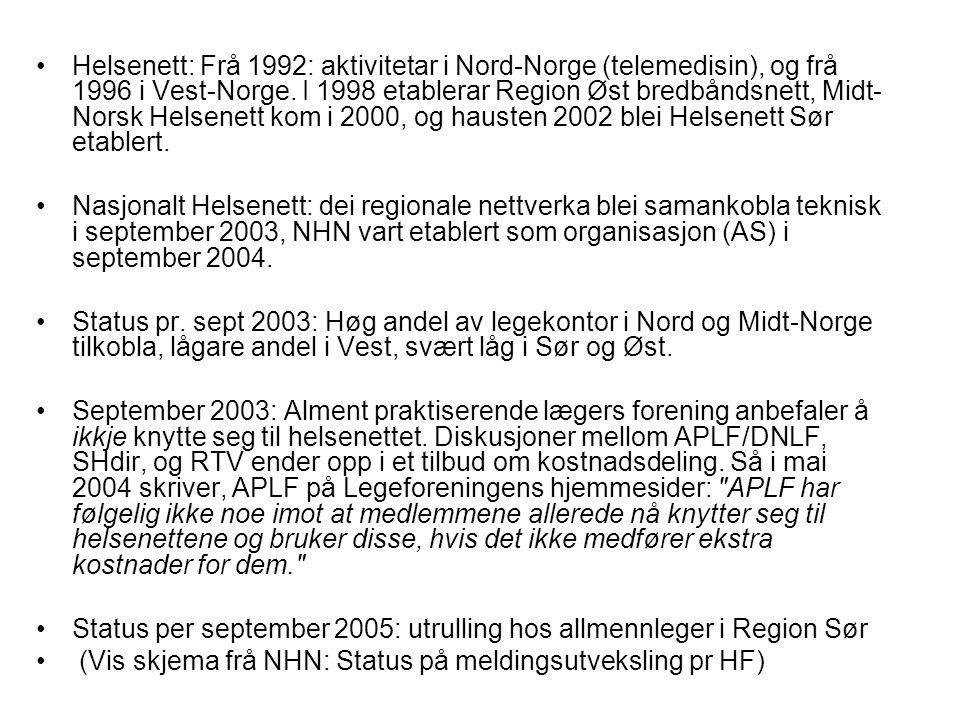Helsenett: Frå 1992: aktivitetar i Nord-Norge (telemedisin), og frå 1996 i Vest-Norge. I 1998 etablerar Region Øst bredbåndsnett, Midt- Norsk Helsenet