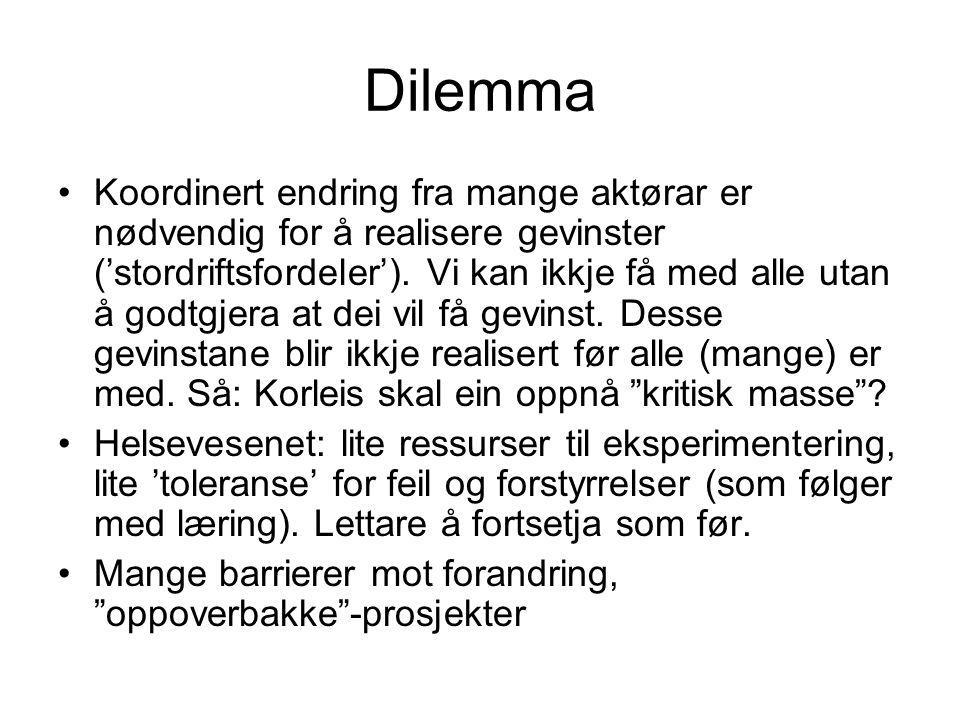Dilemma Koordinert endring fra mange aktørar er nødvendig for å realisere gevinster ('stordriftsfordeler').