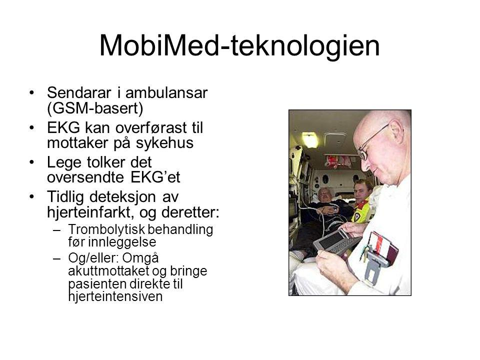 MobiMed-teknologien Sendarar i ambulansar (GSM-basert) EKG kan overførast til mottaker på sykehus Lege tolker det oversendte EKG'et Tidlig deteksjon av hjerteinfarkt, og deretter: –Trombolytisk behandling før innleggelse –Og/eller: Omgå akuttmottaket og bringe pasienten direkte til hjerteintensiven