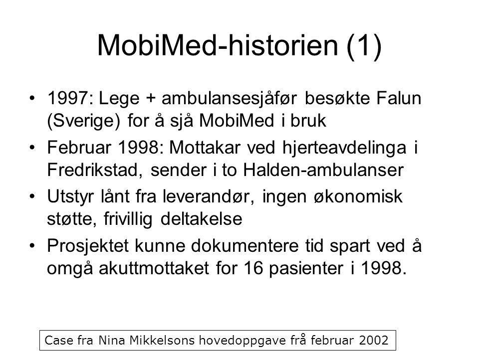 MobiMed-historien (1) 1997: Lege + ambulansesjåfør besøkte Falun (Sverige) for å sjå MobiMed i bruk Februar 1998: Mottakar ved hjerteavdelinga i Fredr