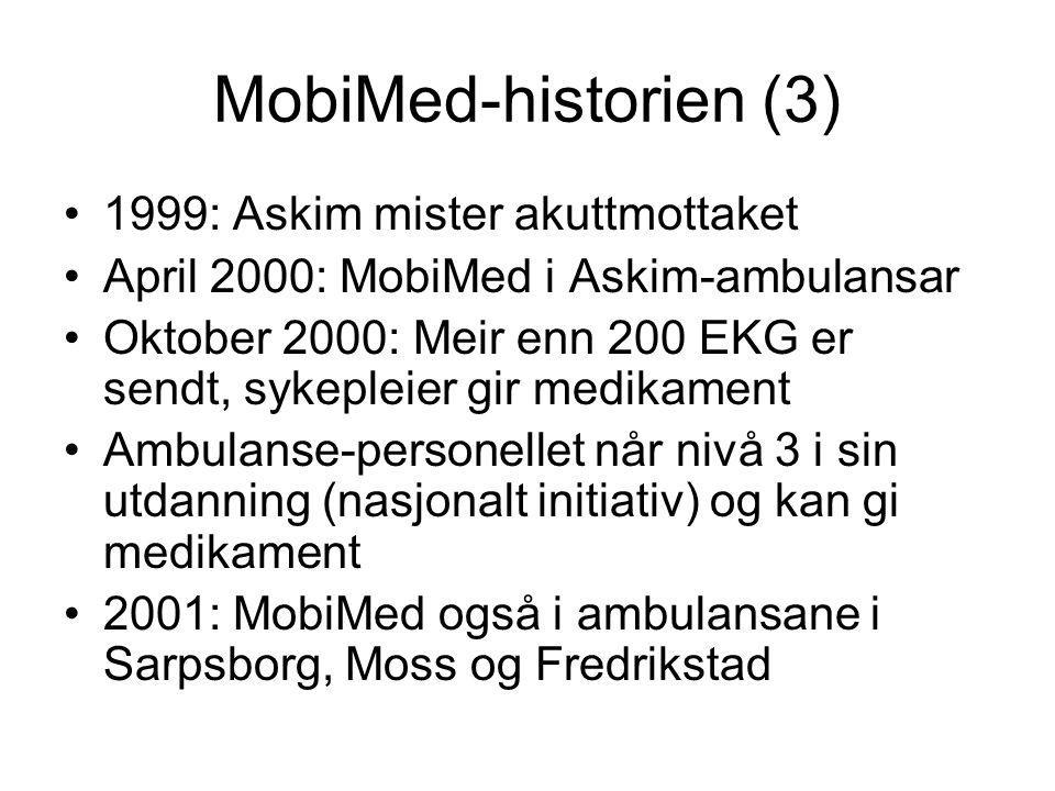 MobiMed-historien (3) 1999: Askim mister akuttmottaket April 2000: MobiMed i Askim-ambulansar Oktober 2000: Meir enn 200 EKG er sendt, sykepleier gir