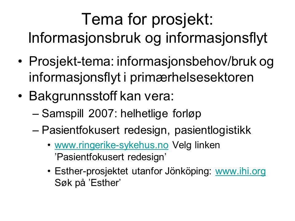 Tema for prosjekt: Informasjonsbruk og informasjonsflyt Prosjekt-tema: informasjonsbehov/bruk og informasjonsflyt i primærhelsesektoren Bakgrunnsstoff