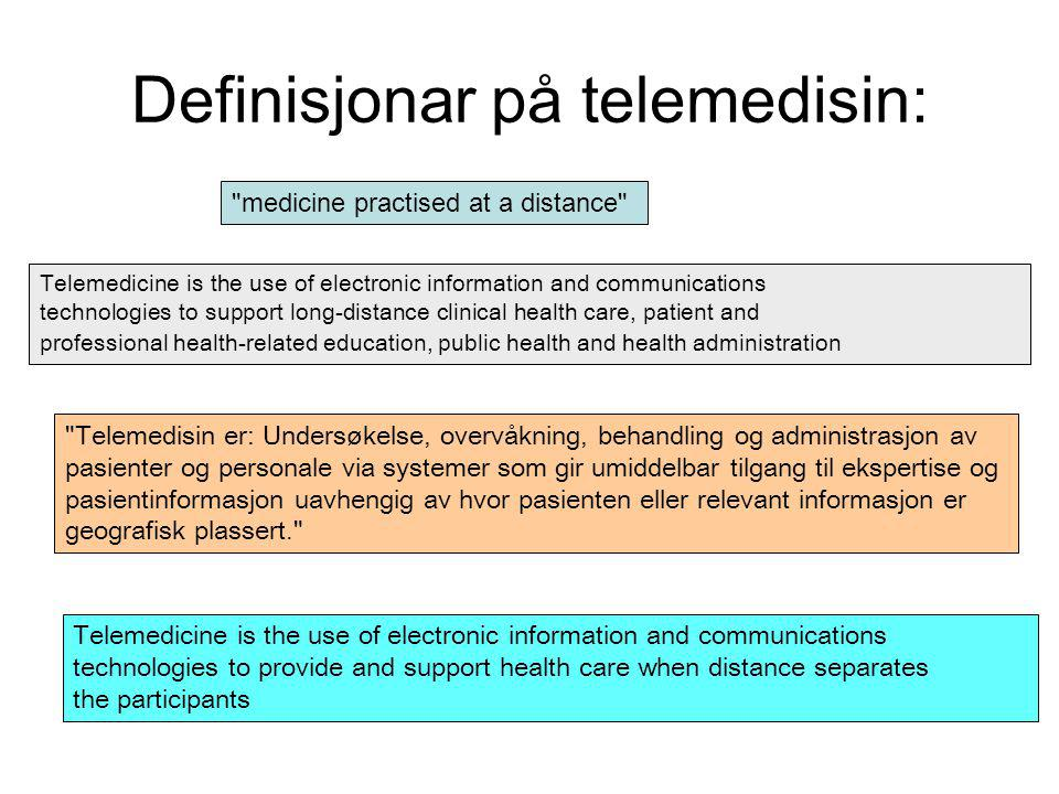 medicine practised at a distance Telemedicine is the use of electronic information and communications technologies to support long-distance clinical health care, patient and professional health-related education, public health and health administration Telemedicine is the use of electronic information and communications technologies to provide and support health care when distance separates the participants Telemedisin er: Undersøkelse, overvåkning, behandling og administrasjon av pasienter og personale via systemer som gir umiddelbar tilgang til ekspertise og pasientinformasjon uavhengig av hvor pasienten eller relevant informasjon er geografisk plassert. Definisjonar på telemedisin: