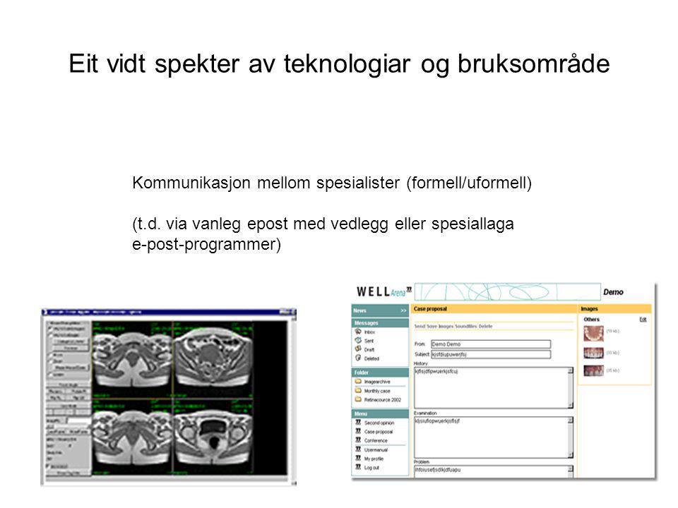 Kommunikasjon mellom spesialister (formell/uformell) (t.d. via vanleg epost med vedlegg eller spesiallaga e-post-programmer) Eit vidt spekter av tekno