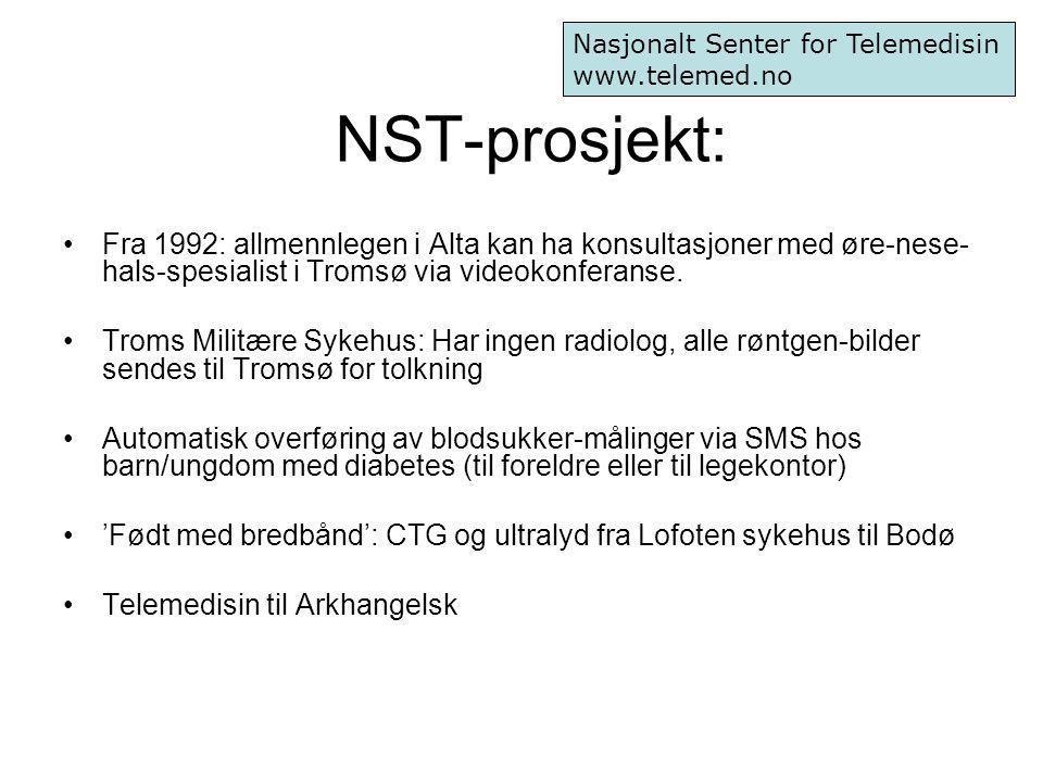 NST-prosjekt: Fra 1992: allmennlegen i Alta kan ha konsultasjoner med øre-nese- hals-spesialist i Tromsø via videokonferanse. Troms Militære Sykehus: