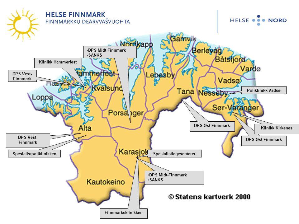 DPS Vest- Finnmark Spesialistpoliklinikken Finnmarksklinikken DPS Midt-Finnmark SANKS Spesialistlegesenteret DPS Øst-Finnmark Klinikk Kirkenes Polikli