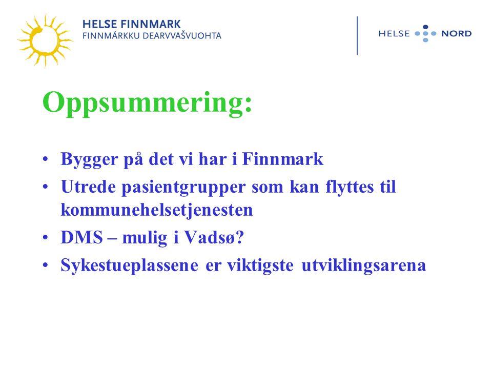 Oppsummering: Bygger på det vi har i Finnmark Utrede pasientgrupper som kan flyttes til kommunehelsetjenesten DMS – mulig i Vadsø.