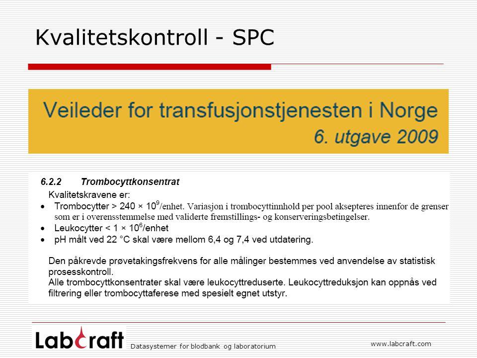 Datasystemer for blodbank og laboratorium www.labcraft.com Kvalitetskontroll - SPC