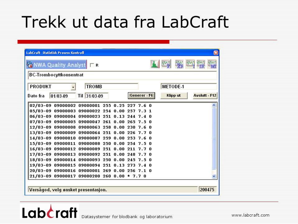 Datasystemer for blodbank og laboratorium www.labcraft.com Trekk ut data fra LabCraft