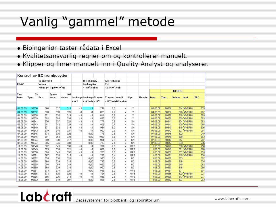 Datasystemer for blodbank og laboratorium www.labcraft.com Vanlig gammel metode ● Bioingeniør taster rådata i Excel ● Kvalitetsansvarlig regner om og kontrollerer manuelt.