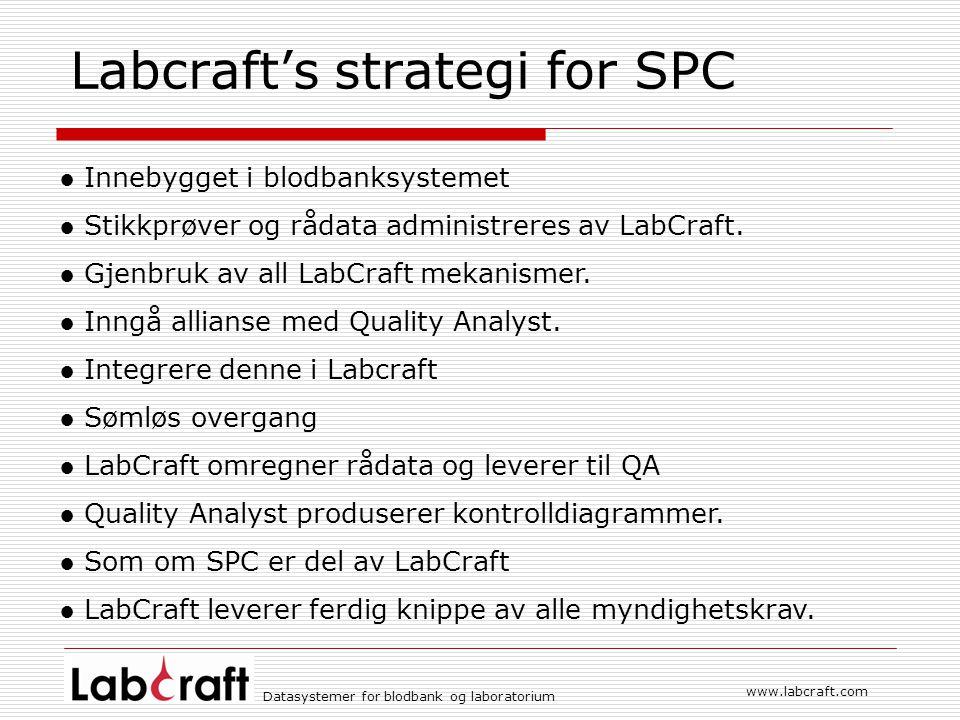 Datasystemer for blodbank og laboratorium www.labcraft.com Labcraft's strategi for SPC ● Innebygget i blodbanksystemet ● Stikkprøver og rådata administreres av LabCraft.