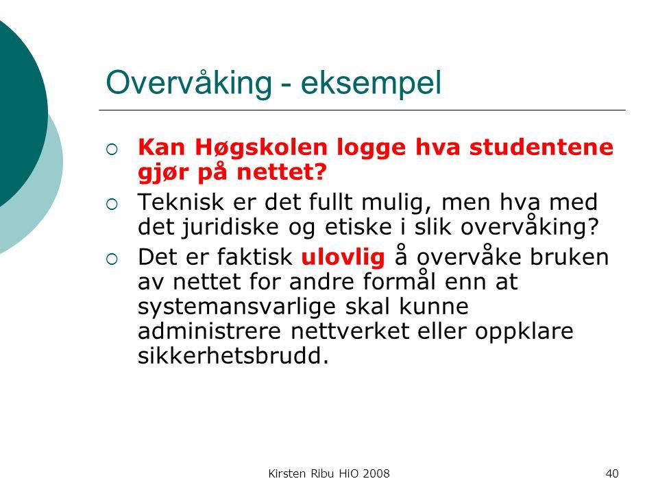 Kirsten Ribu HiO 200840 Overvåking - eksempel  Kan Høgskolen logge hva studentene gjør på nettet.