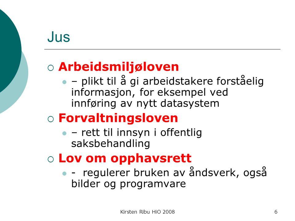 Kirsten Ribu HiO 20087 Konsesjon  Alle personregistre må ha konsesjon dersom de inneholder sensitive opplysninger – søknad sendes Datatilsynet - www.datatilsynet.no www.datatilsynet.no