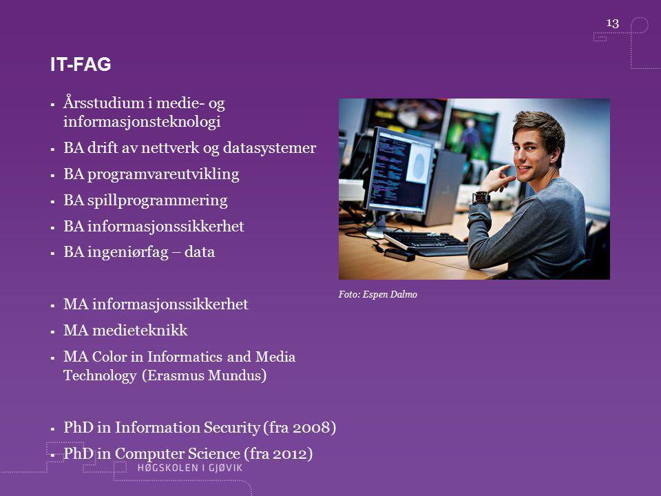 13 Foto: Espen Dalmo IT-FAG  Årsstudium i medie- og informasjonsteknologi  BA drift av nettverk og datasystemer  BA programvareutvikling  BA spill
