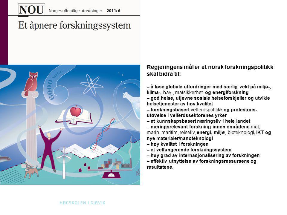 18 KONTAKT Regjeringens mål er at norsk forskningspolitikk skal bidra til: – å løse globale utfordringer med særlig vekt på miljø-, klima-, hav-, mats