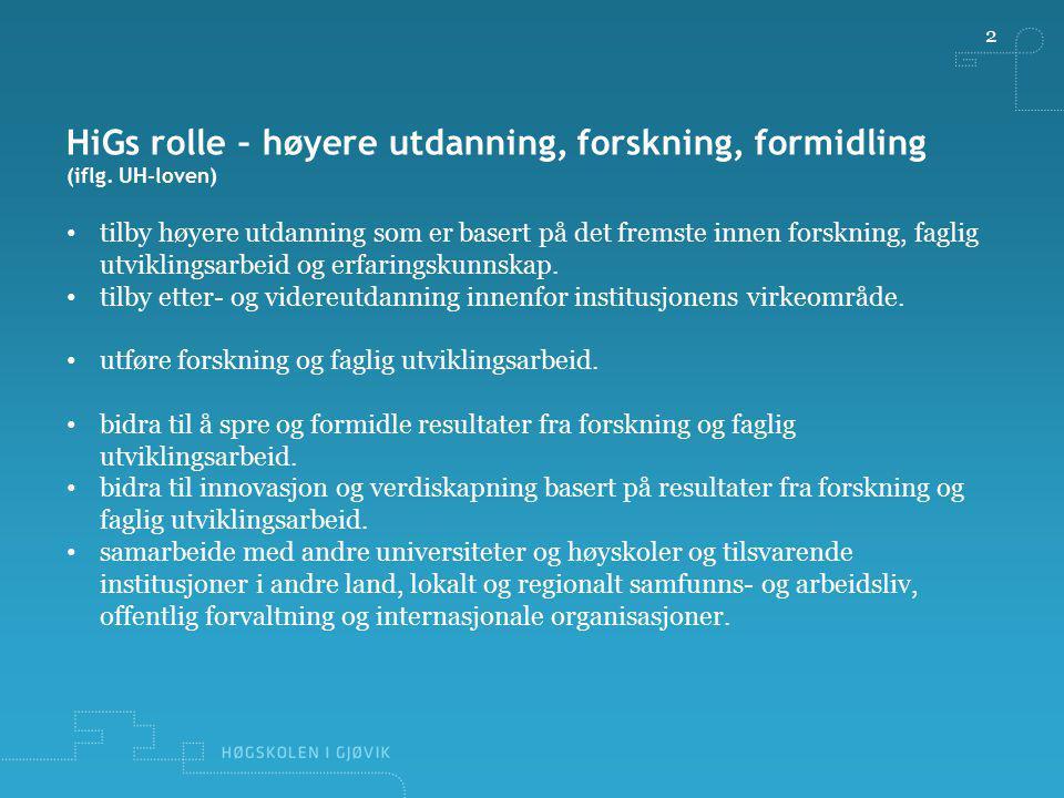 2 HiGs rolle – høyere utdanning, forskning, formidling (iflg. UH-loven) tilby høyere utdanning som er basert på det fremste innen forskning, faglig ut
