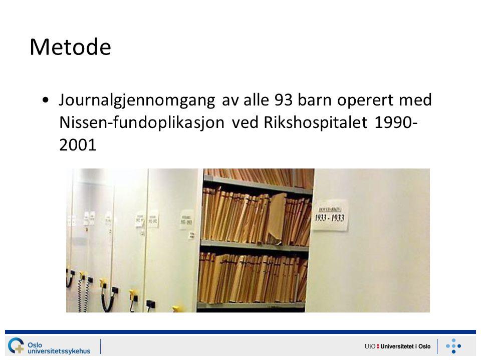 Metode Journalgjennomgang av alle 93 barn operert med Nissen-fundoplikasjon ved Rikshospitalet 1990- 2001