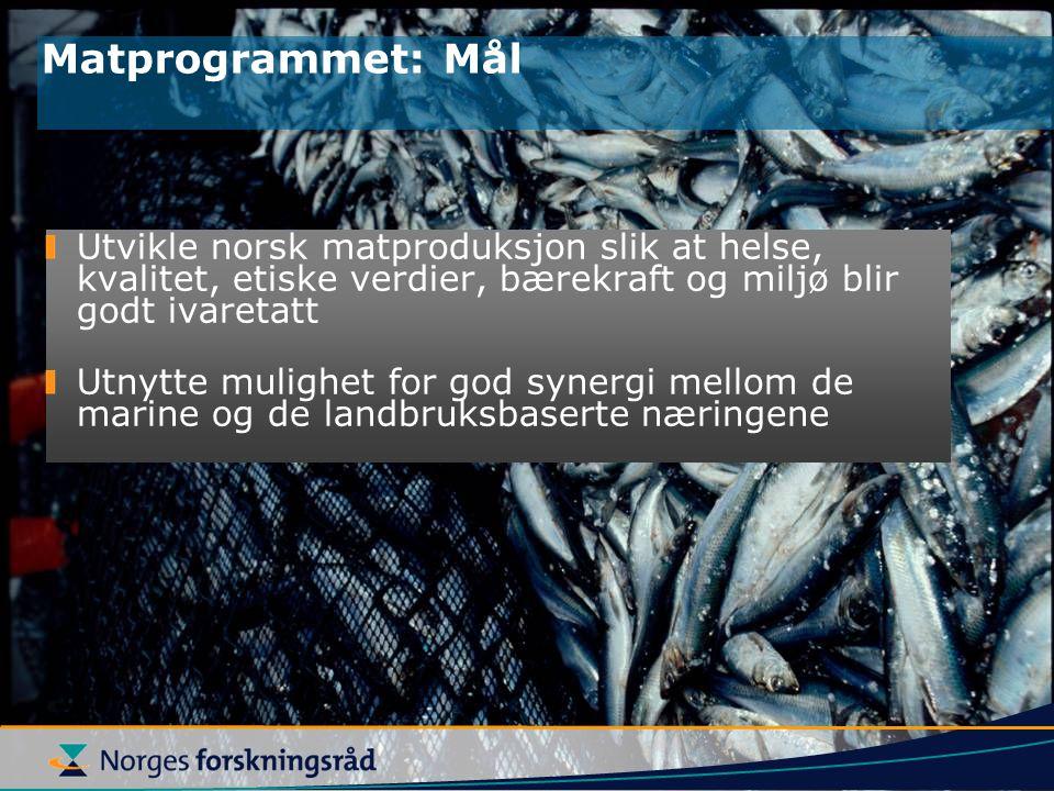 Utvikle norsk matproduksjon slik at helse, kvalitet, etiske verdier, bærekraft og miljø blir godt ivaretatt Utnytte mulighet for god synergi mellom de