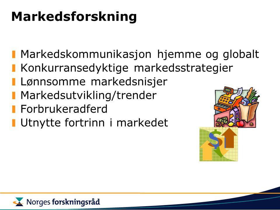 Markedsforskning Markedskommunikasjon hjemme og globalt Konkurransedyktige markedsstrategier Lønnsomme markedsnisjer Markedsutvikling/trender Forbruke