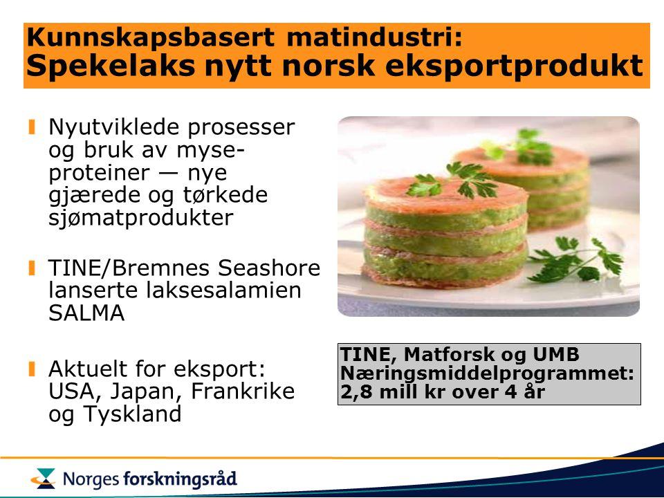 Kunnskapsbasert matindustri: Spekelaks nytt norsk eksportprodukt Nyutviklede prosesser og bruk av myse- proteiner — nye gjærede og tørkede sjømatprodu